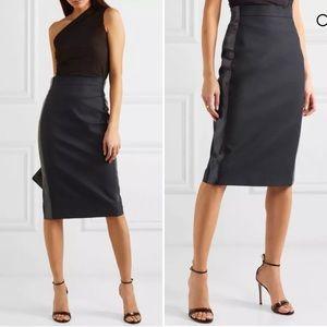 Max Mara navy Cotton And Linen-Blend Skirt 6